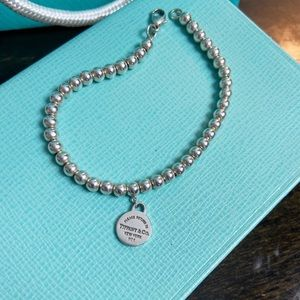 Tiffany & Co. silver round tag bead bracelet 6.5""